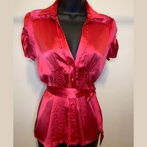 XS Bebe Pink Nylon Button Blouse w/ Waist Tie- D22